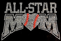 All Star Baseball Mom Rhinestone Transfer