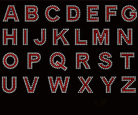 "1.5"" Bold Letter Alphabet Arial Font (RED with clear outline) Rhinestone Transfer"