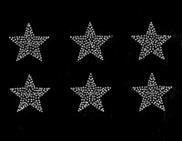 "(6 qty) 2"" Star (clear) Rhinestone Transfer Iron on"