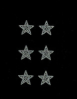 "(Set of 6) 1.5"" Star (CLEAR) Rhinestone Transfer Iron on"