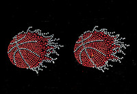 "(2 qty) BASKETBALL Ball 2"" Fireball Flame Fire Rhinestone Transfer"