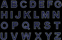 "1.5"" Bold Letter Alphabet Arial Font (COBALT BLUE with clear outline) Rhinestone Transfer"