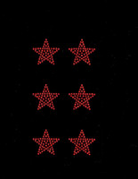 "(Set of 6) 1.5"" Star (RED) Rhinestone Transfer"