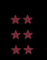 "(Set of 6) 1.5"" Star (FUCHSIA Hot Pink) Rhinestone Transfer"