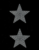 "(2 qty) 4"" Star (CLEAR) Rhinestone Transfer Iron on"