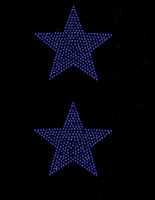 "(2 qty) 4"" Star (COBALT BLUE) Rhinestone Transfer"