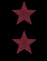"(2 qty) 4"" Star (FUCHSIA Hot Pink) Rhinestone Transfer"