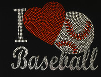 I love Baseball Red Heart Rhinestone Transfer Iron on DIY