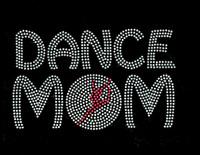 Dance Mom Girl inside O Fuchsia Pink Rhinestone Transfer Iron On