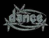 Dance Techno shooting star Clear Rhinestone Transfer Iron on