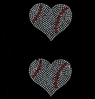 "(2 qty) 3.8"" Baseball Ball Heart shape Rhinestone Transfer Iron on"