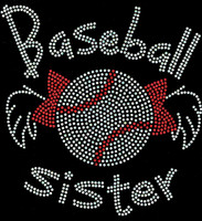 Baseball Sister Bow wing Rhinestone Transfer Iron on DIY