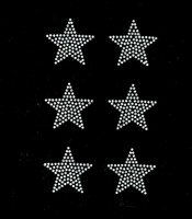 "(Set of 6) 2"" Star (CLEAR) Rhinestone Transfer Iron on"