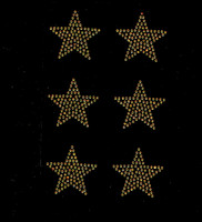"(Set of 6) 2"" Star (GOLDEN TOPAZ) Rhinestone Transfer Iron on"
