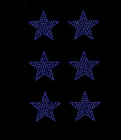 "(Set of 6) 2"" Star (Cobalt Blue) Rhinestone Transfer Iron on"