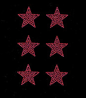 "(Set of 6) 2"" Star (FUCHSIA Hot Pink) Rhinestone Transfer"