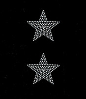 "(2 qty) 3"" Star (CLEAR) Rhinestone Transfer Iron on"