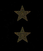 "(2 qty) 3"" Star (Golden TOPAZ) Rhinestone Transfer"