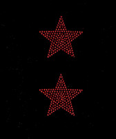 "(2 qty) 3"" Star (RED) Rhinestone Transfer"