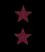 "(2 qty) 3"" Star (FUCHSIA Hot Pink) Rhinestone Transfer"