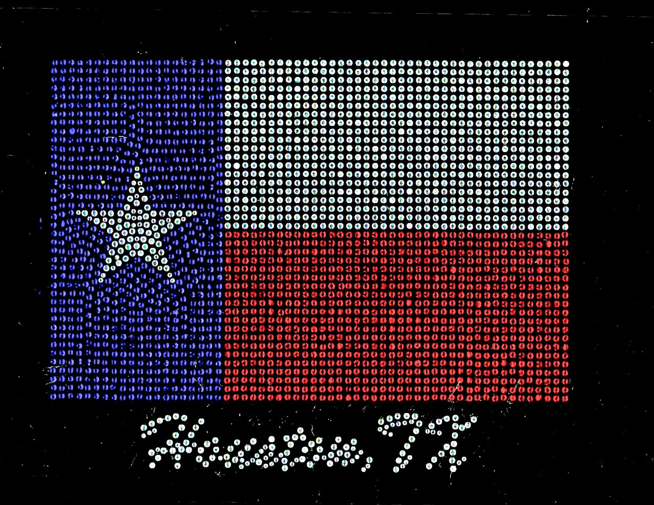 Houston Texas Flag Map Rhinestone Transfer Iron On - Texas