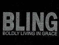 Bling Boldly Living in Grace (Bold Text) Rhinestone Transfer