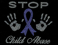 Stop Child Abuse Cancer Ribbon Awareness Rhinestone transfer