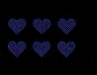 "2"" Heart (6 Hearts) Cobalt Blue Rhinestone Transfer"