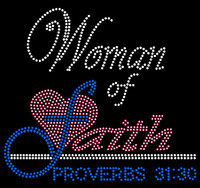 (Fuchsia Cobalt blue) Woman of Faith Proverbs 31:30 Religious Rhinestone Transfer