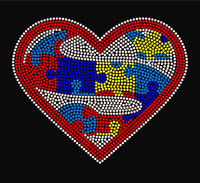 Super Autism Heart Rhinestone Transfer Iron On
