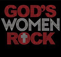 God's Women Rock (Red Clear) Rhinestone Transfer