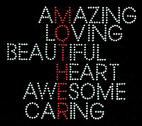 Mother Words Amazing LovingBeautiful Awesome Caring Rhinestone Transfer