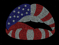 USA Lips 4th of july Rhinetstone Transfer