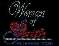 (Red cobalt blue) Woman of Faith Proverbs 31:30 Religious Rhinestone Transfer