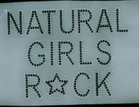 (Text) Natural Girls Rock (Black text Clear outline) Afro Rhinestone Transfer