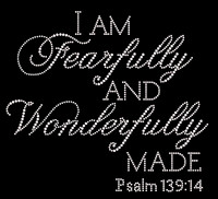 (Text) I'm Fearfully and Wonderfully made PSALM 139:14 Rhinestone Transfer