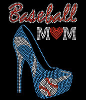 Baseball Mom Heel Stiletto heart Blue Rhinestone Transfer
