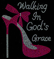 Walking in God's Grace (FUCHSIA) Heel Stiletto Religious Rhinestone Transfer