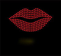 "(Set of 6) Lips 4"" Red Rhinestone Transfer Iron On"