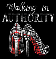 Walking in Authority Heels Stiletto Rhinestone Transfer