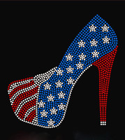 USA Heel Stiletto TR Rhinetstone Transfer Iron on