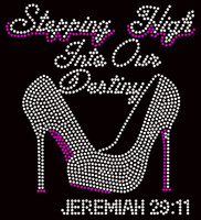 Stepping High into our Destiny Heels Stiletto Jeremiah 29:11 Religious Rhinestone Transfer
