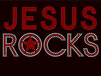 Jesus Rocks Text Religious Rhinestone Transfer