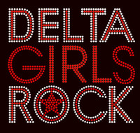 Delta Girls Rock Text Afro Religious Rhinestone Transfer