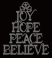 Joy Hope Peace Believe Religious Rhinestone Transfer