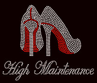 High Maintenance Heels Stiletto RED Rhinestone Transfer