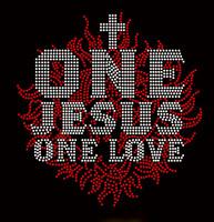 One Jesus Religious Rhinestone Transfer