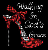 Walking in God's Grace (RED) Heel Stiletto Religious Rhinestone Transfer