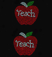 "(2 qty) Apple Teach 3"" School Rhinestone Transfer"