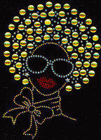 Afro Girl 13mm (Golden) Rhinestone Transfer